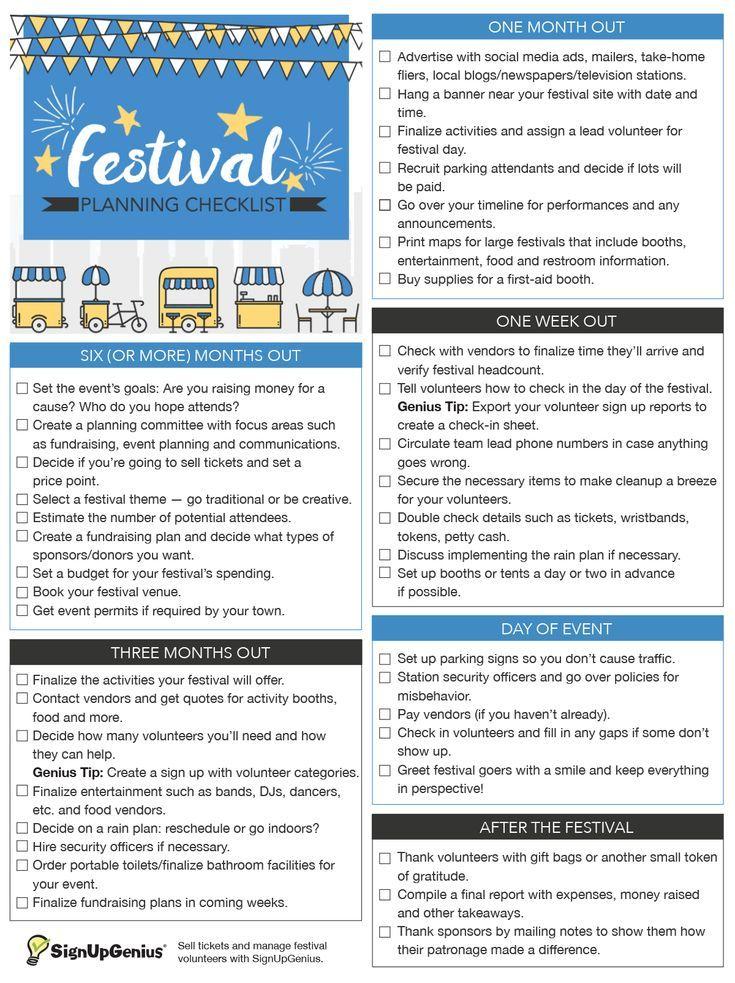 Festival Planning Checklist | Festival planning, Community ...