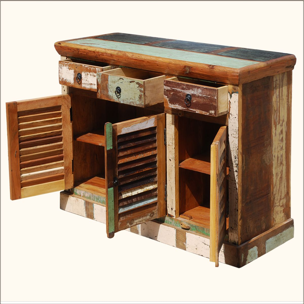 Matchless Rustic Reclaimed Teak Wood Buffet With Storage With Distressed Finish From Charming