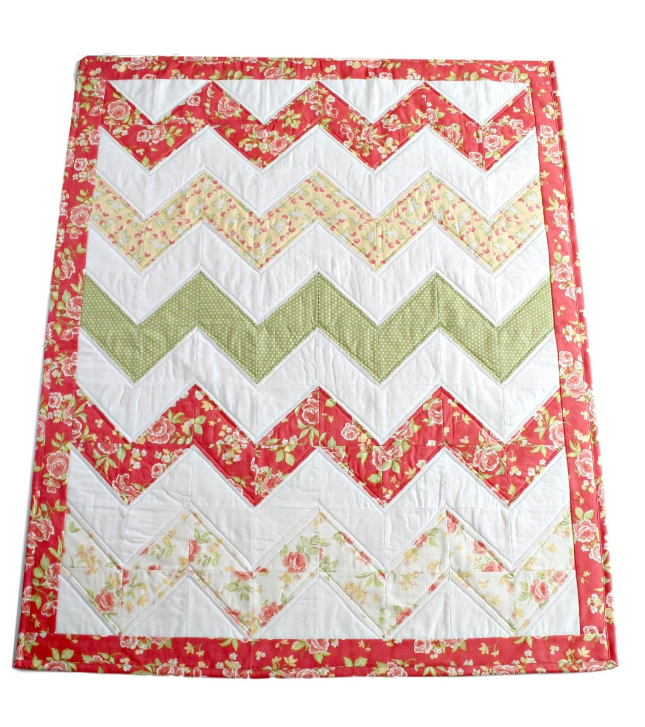 Chevron Baby Quilt~ Baby Quilts Handmade~ Homemade Quilts~ Floral ... : chevron quilts for sale - Adamdwight.com