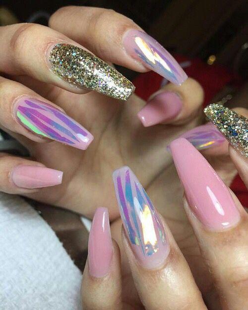 Pink Gold Glitter Metallic Coffin Nails