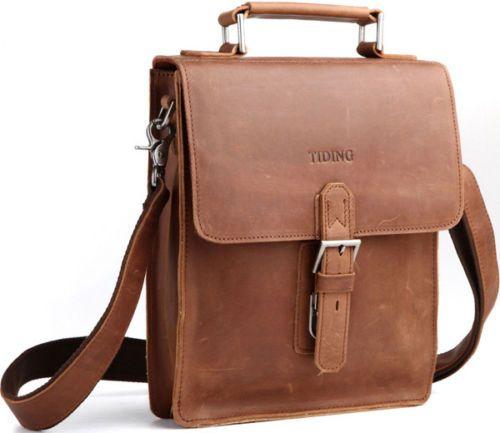 Real Leather Men/'s Boy/'s Fashion Business Satchel Shoulder Messenger Sling Bag