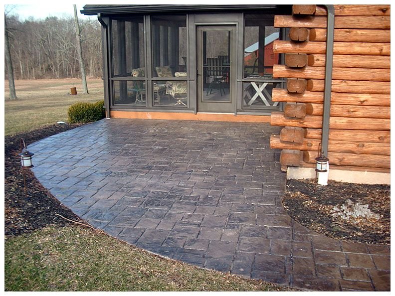 images about patio on, stamped concrete patio design ideas