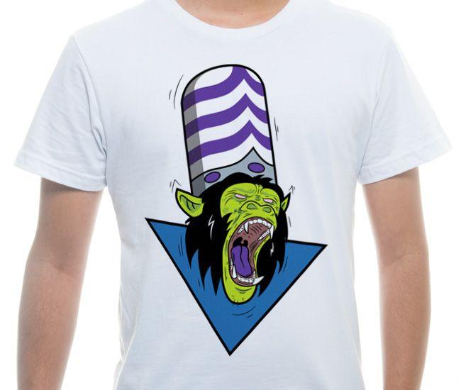 Camiseta Básica na cor Branco - Ilustração Evil Mojo  por Tiago Conceicao