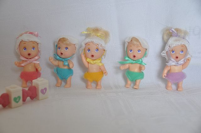 1990 Vintage Tyco Quints Drink and Wet Dolls NEW