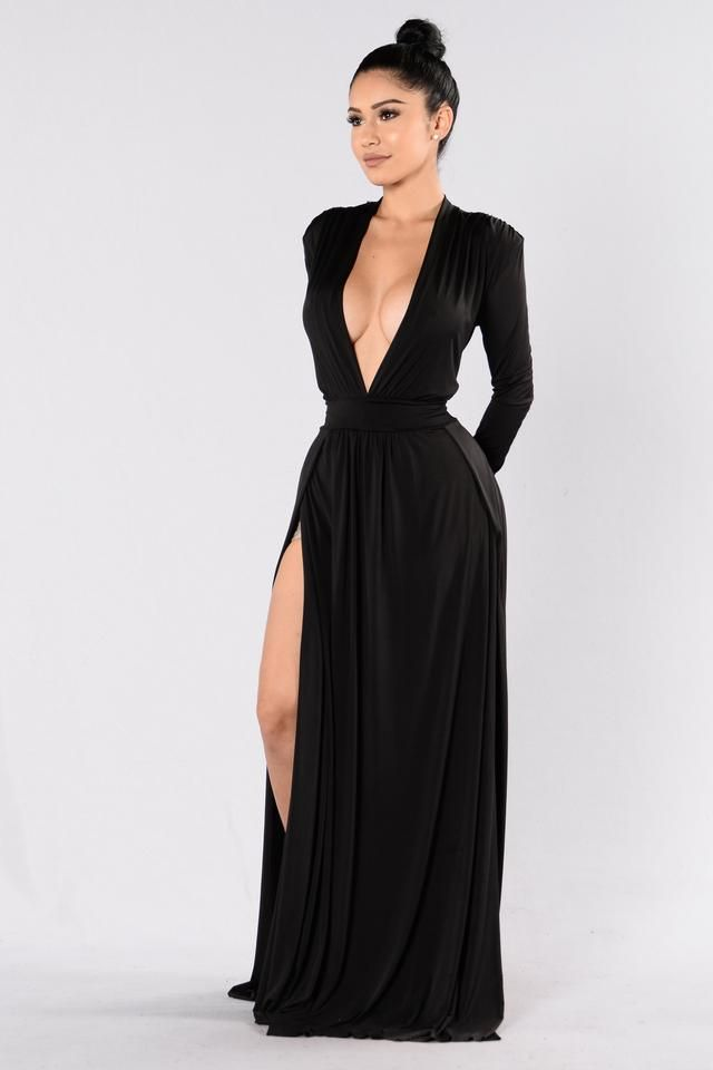 5090447f2d81e Deep V Neckline - Padded Shoulders - Maxi Length - Double Slit - Long  Sleeve - Made in USA - 95% Polyester 5% Spandex