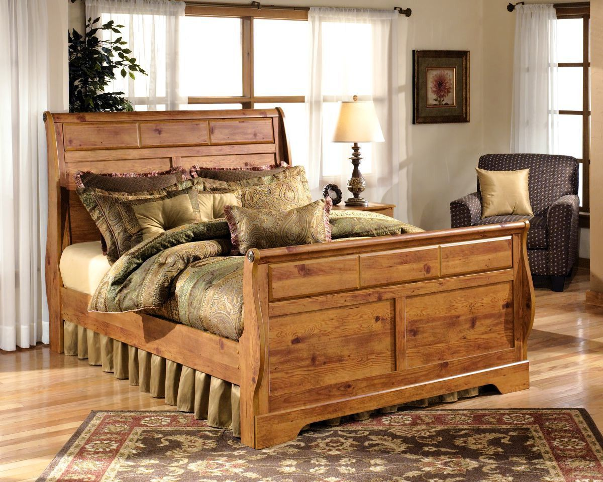 bittersweet king size bed  pine bedroom furniture sleigh