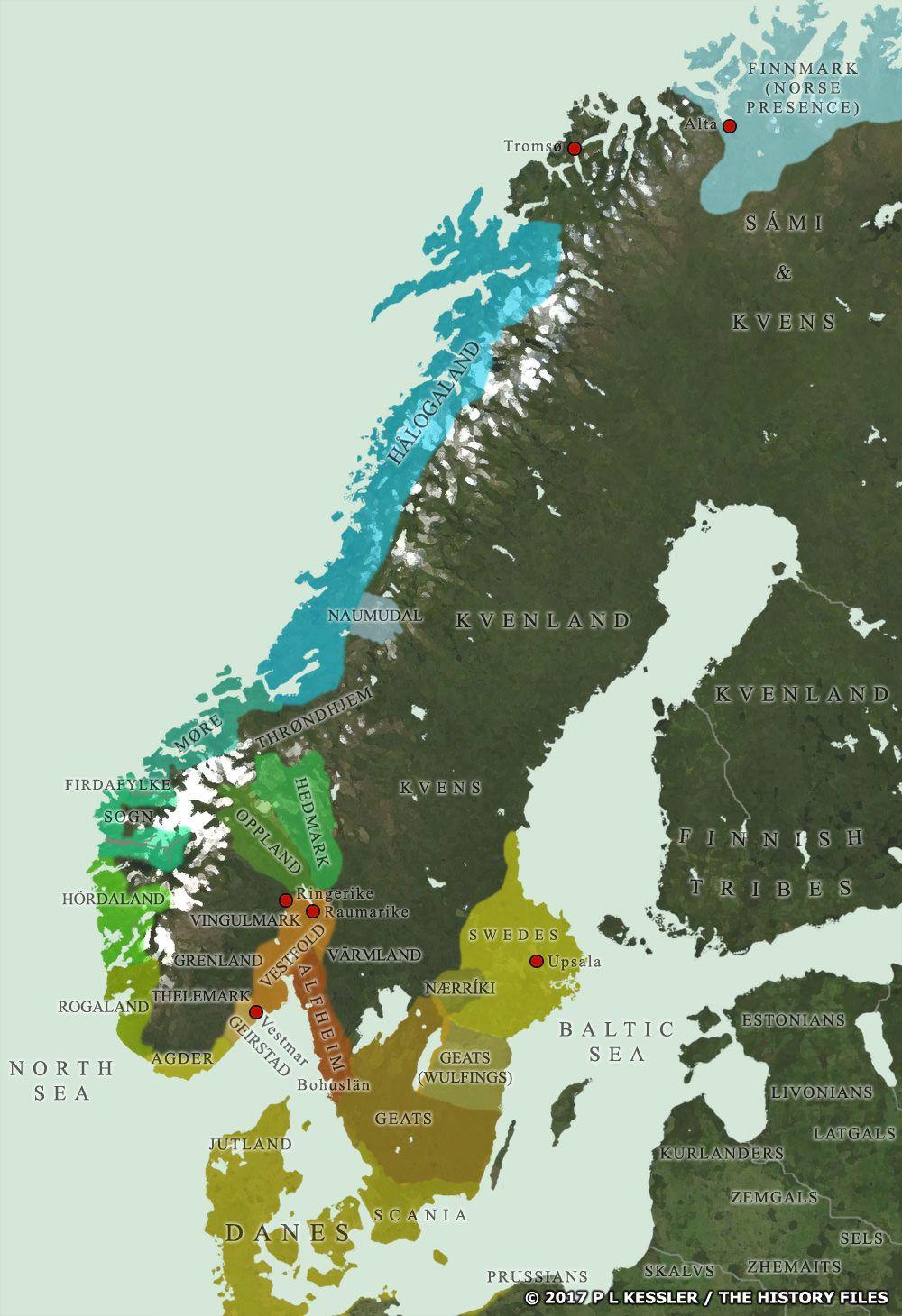Petty Kingdoms Of Scandinavia 800 Ad Viking History Historical Maps European History