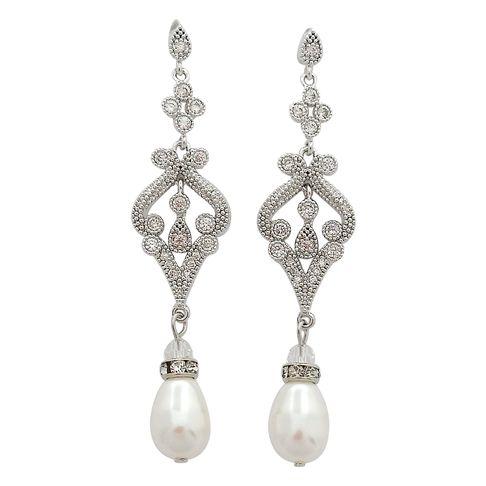 Vintage Style Long Bridal Chandelier Earrings | Bridal chandelier ...