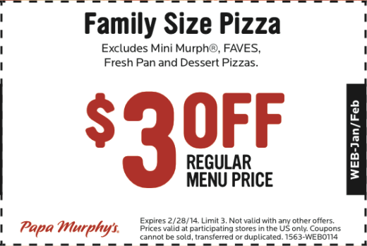 picture regarding Papa Murphy's Printable Coupon identified as Papa Murphys Printable Coupon: Help you save upon a Family members Sized Pizza