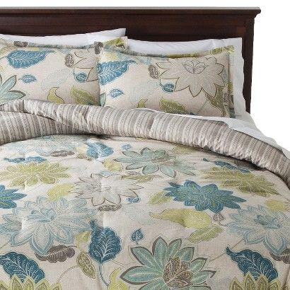 Blue Amp Green Floral Comforter Set King 3pc Threshold