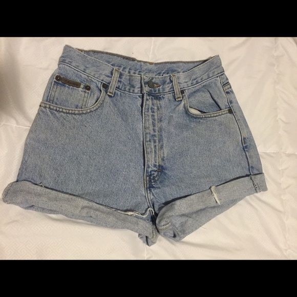 Light wash cut-off shorts These are super cute shorts. Light blue wash. Fit to size, just a little too big for me I discovered. Great quality denim! Calvin Klein Shorts Jean Shorts