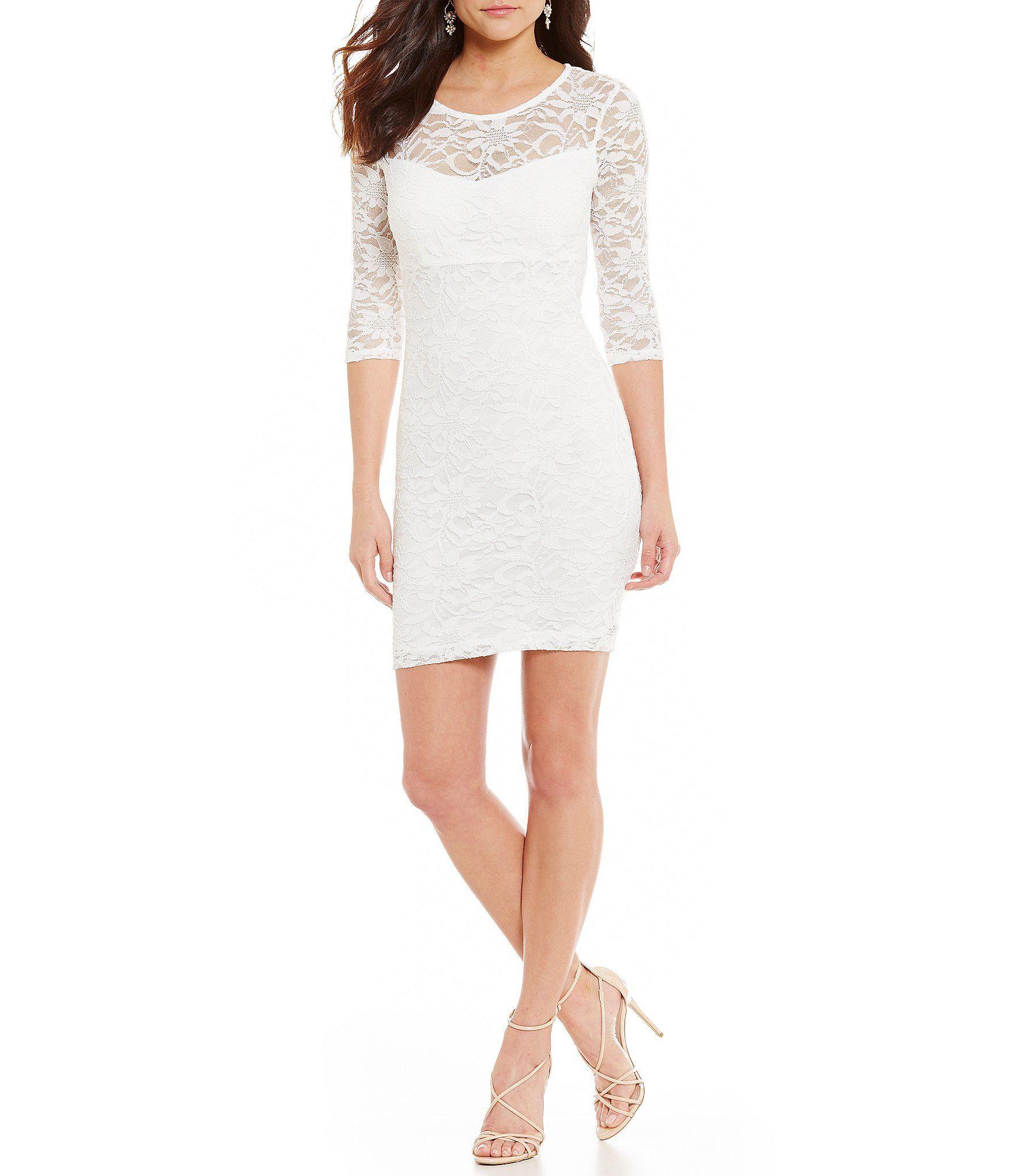 Wedding dresses dillards  B Darlin Lace Scalloped OpenBack IllusionYoke Sheath Dress