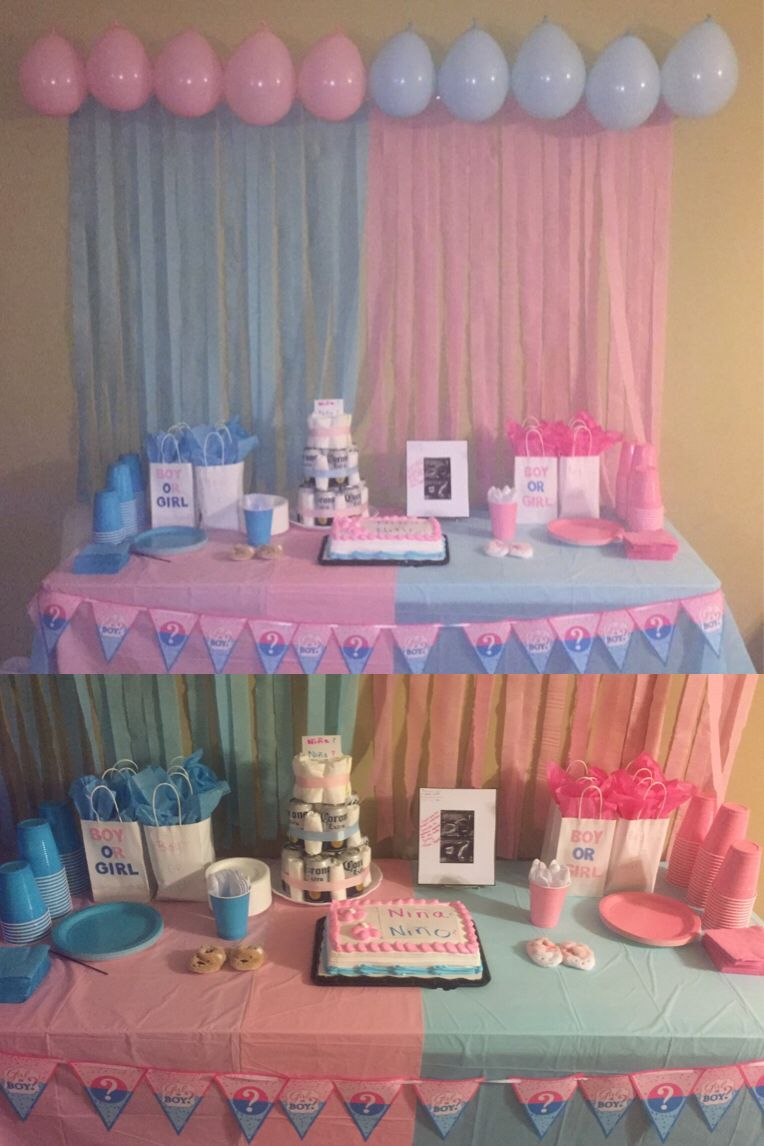 Gender reveal party decoration i did for my reveal shower - Decoration baby shower fait maison ...