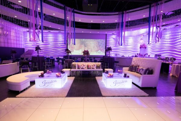 Purple Bat Mitzvah Party With Led Lounge Decor At Vegas Nj Mazelmoments Com
