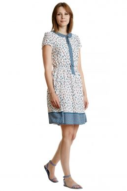 Kuvi-Kleid bedrucktes Sommerkleid mit Feder-Print von MODEE