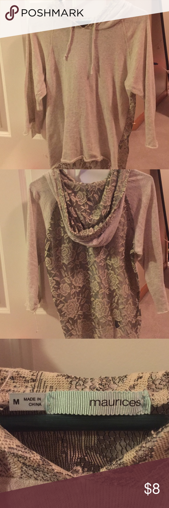 Quarter sleeve shirt with hoodie Quarter sleeve hoodie with a lacy back. Only worn a couple of times! Super cute shirt and very comfortable. Light material and neutral colors. Maurices Tops Tees - Long Sleeve