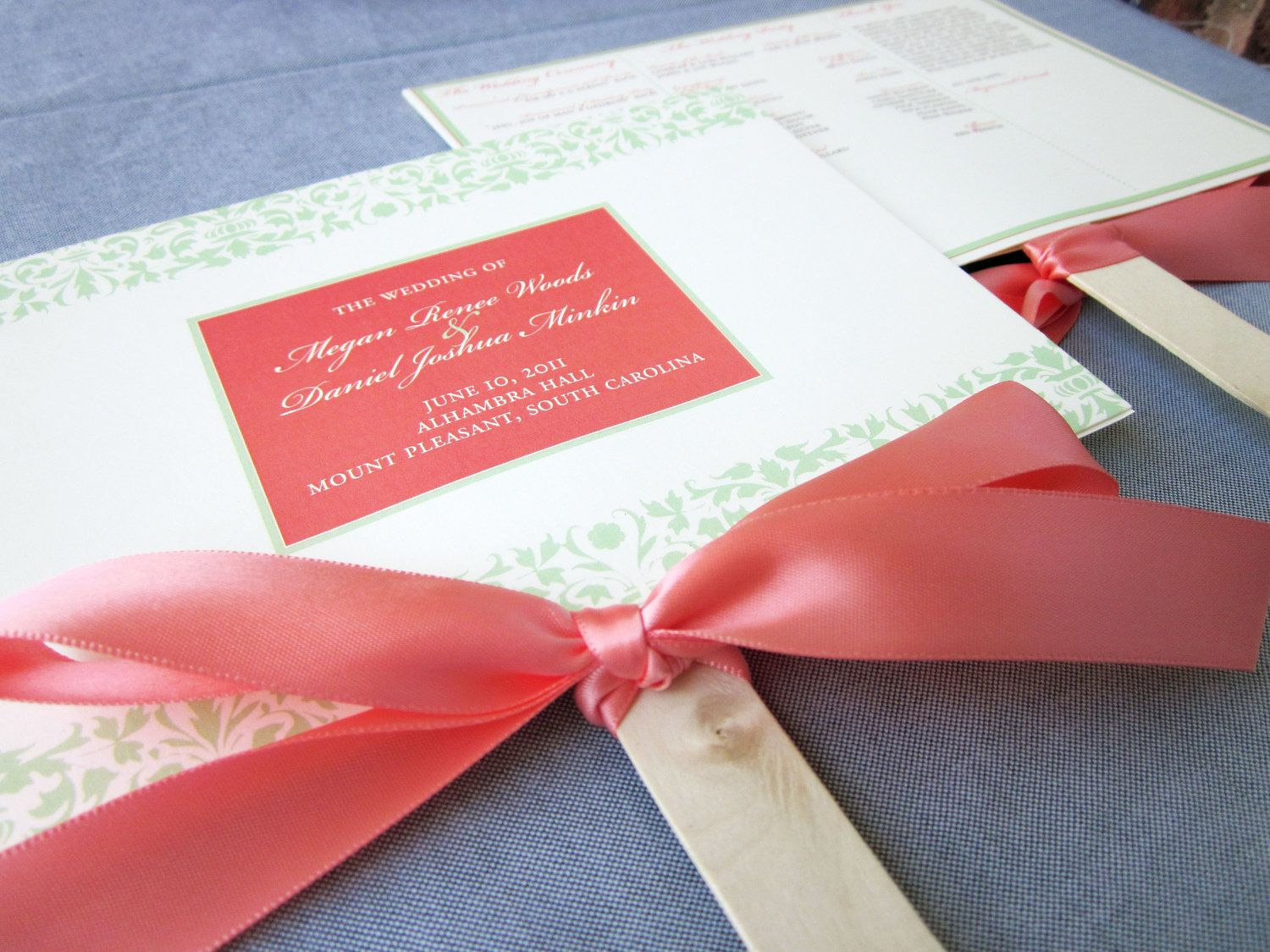 Damask and Ribbon Custom Fan Wedding Program Shown in Coral and Mint ...