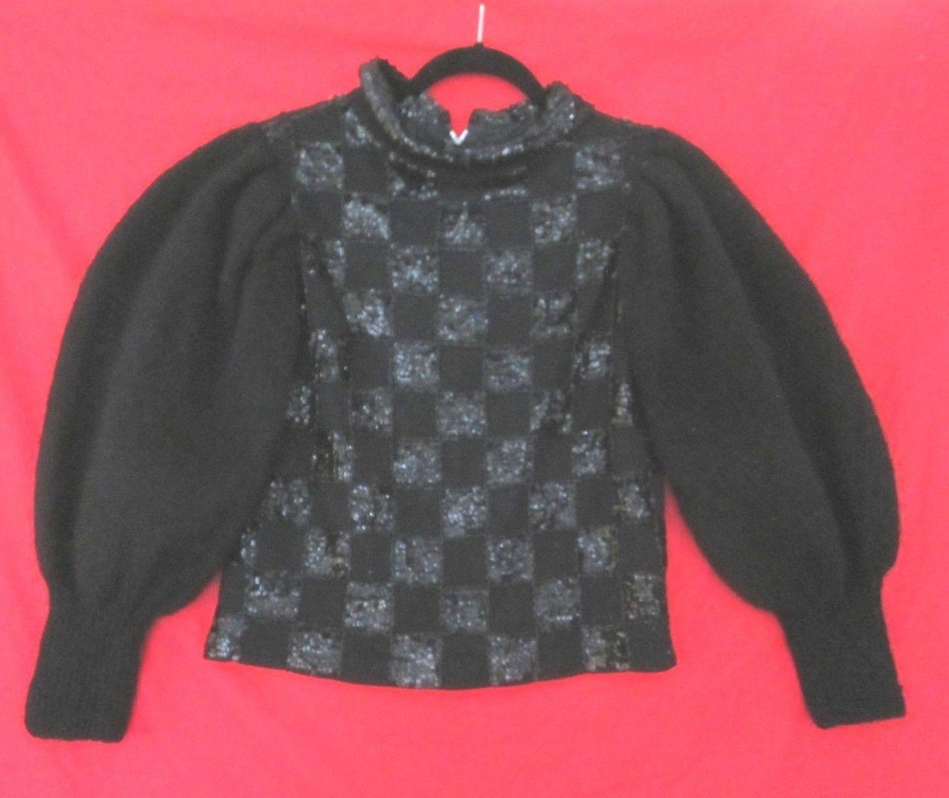 Vintage 80's Avant Garde Puff Sleeve Sweater Hand Decorated Sequin S | eBay