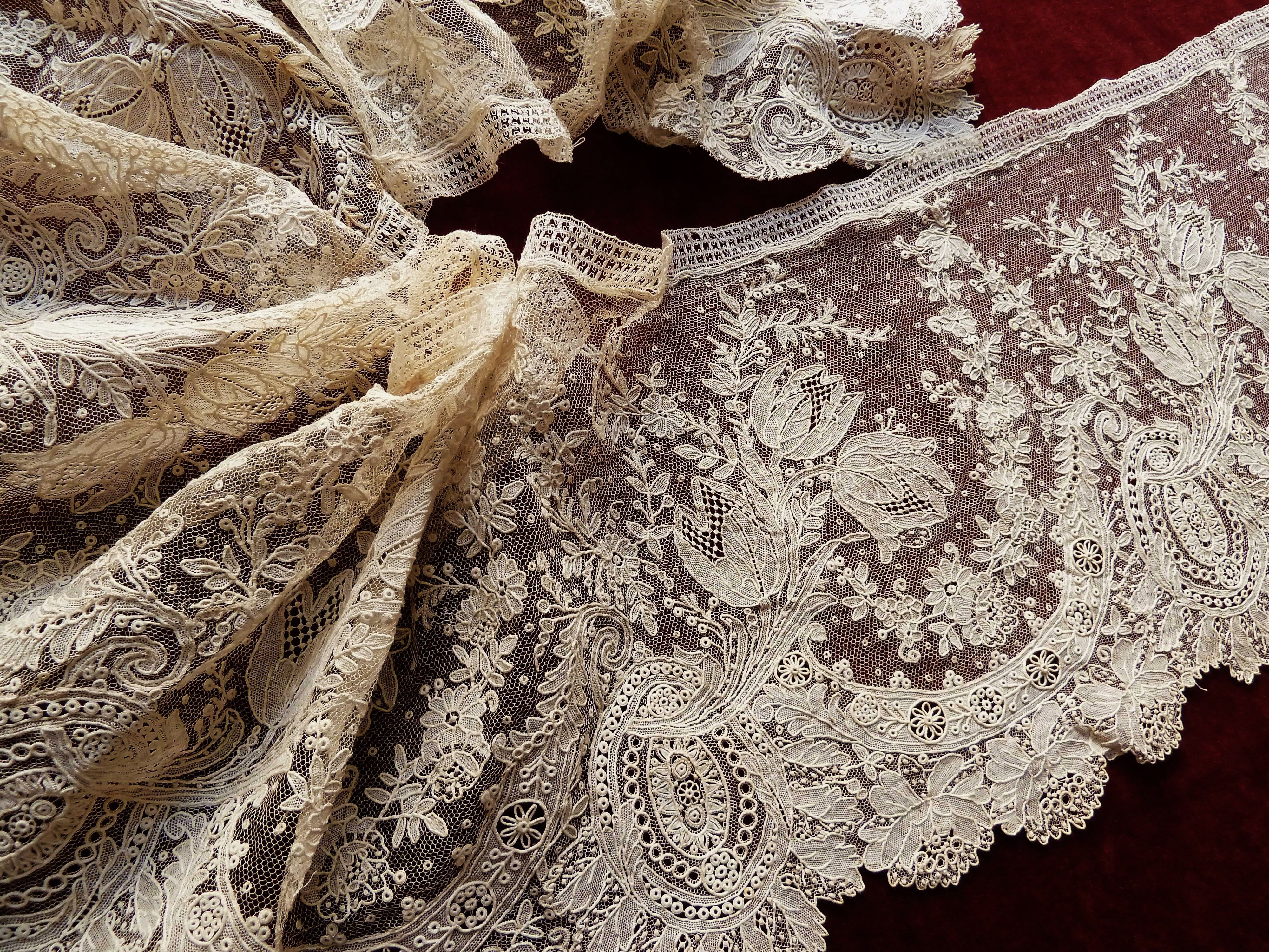 "Detail of an important ""Brussels point de gaze"" lace flounce. Every element, even the fine mesh background, was hand stitched!"