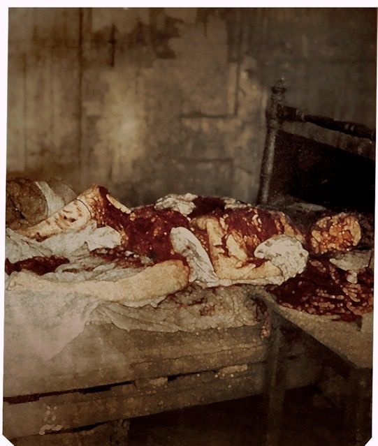 Mary Jeanette Kelly's remains: the only photograph of a Jack the Ripper crime scene. (Colorized) 1888