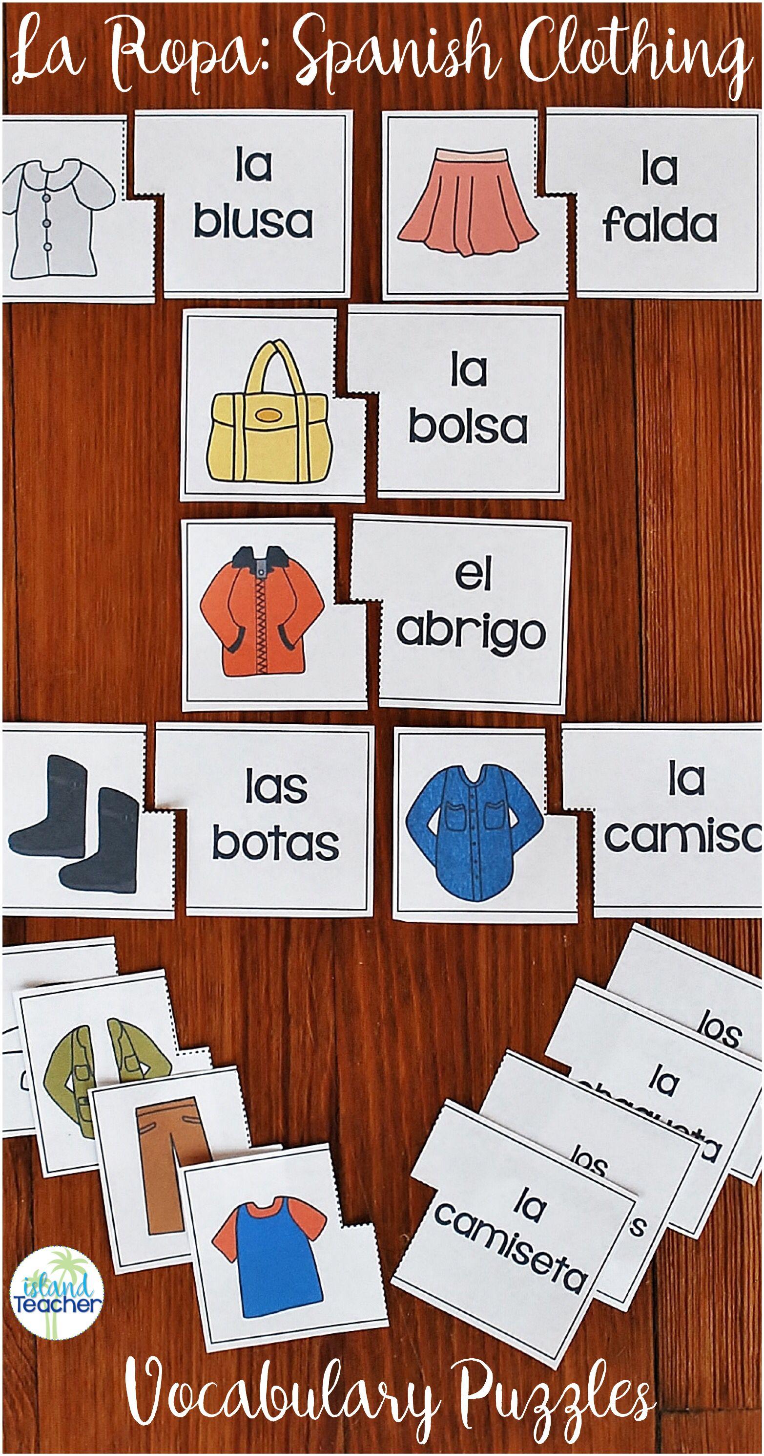 Spanish Clothing Puzzles La Ropa