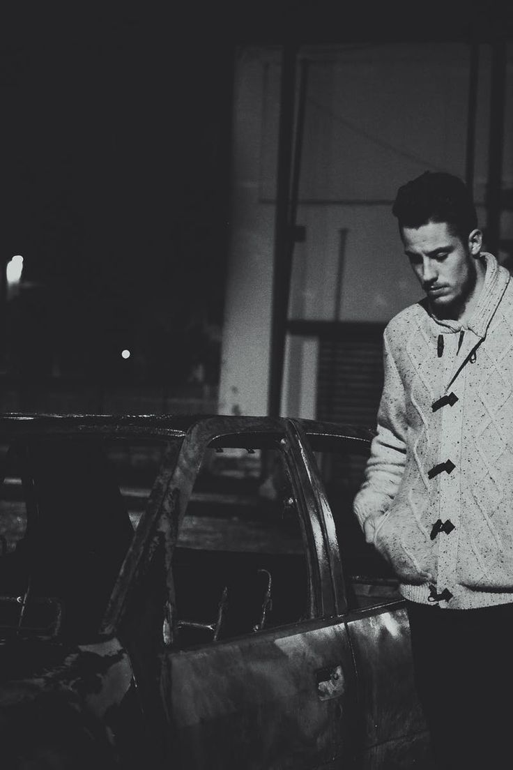 Download this free photo from Pexels at https://www.pexels.com/photo/man-wearing-gray-jacket-near-black-car-during-night-time-169558/ #black-and-white #fashion #man