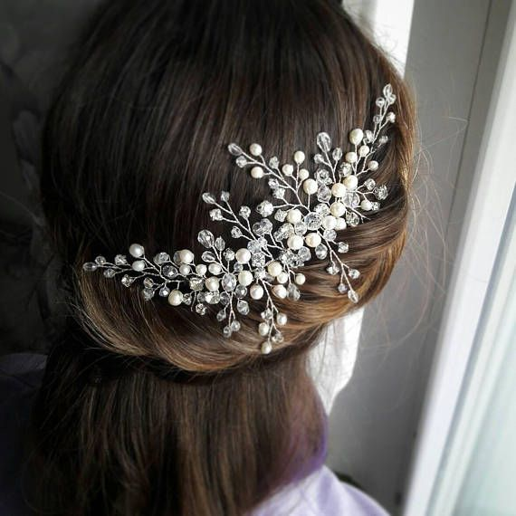 Bridal headpiece Wedding hair vine Babys breath hair piece Bridal hair piece Crystal hair vine Wedding headband Pearl Headpiece Prom Halo