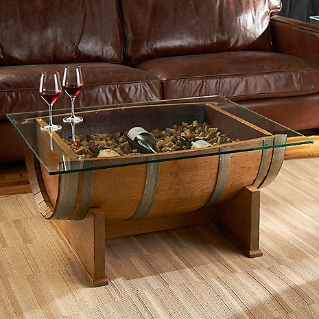 French Oak Barrel Cocktail Table Natural Finish Wine