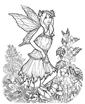 Detailed Coloring Pages for Adults | Here is a very detailed fairy ...