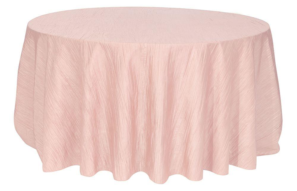 132 Inch Round Crinkle Taffeta Tablecloth Blush Weddings On A