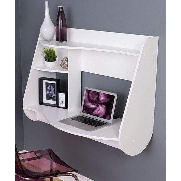 Prepac White Kurv Floating Desk 355 Brl Liked On Polyvore
