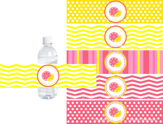 Pink Lemonade Water Bottle Labels - INSTANT DOWNLOWD - DIY - water bottle label template