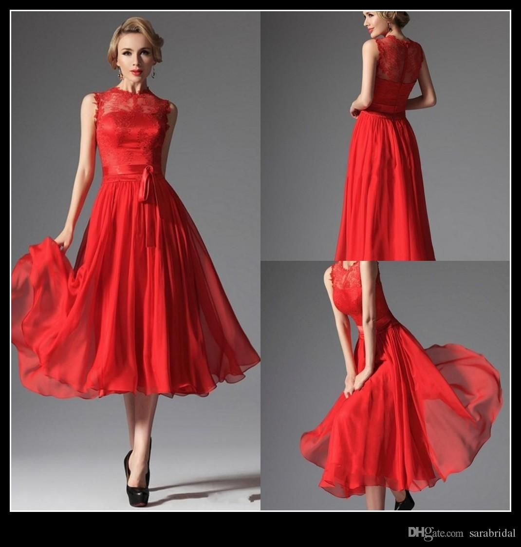Charming Tea Length Bridesmaid Dress 2016 Lace Chiffon A Line Red