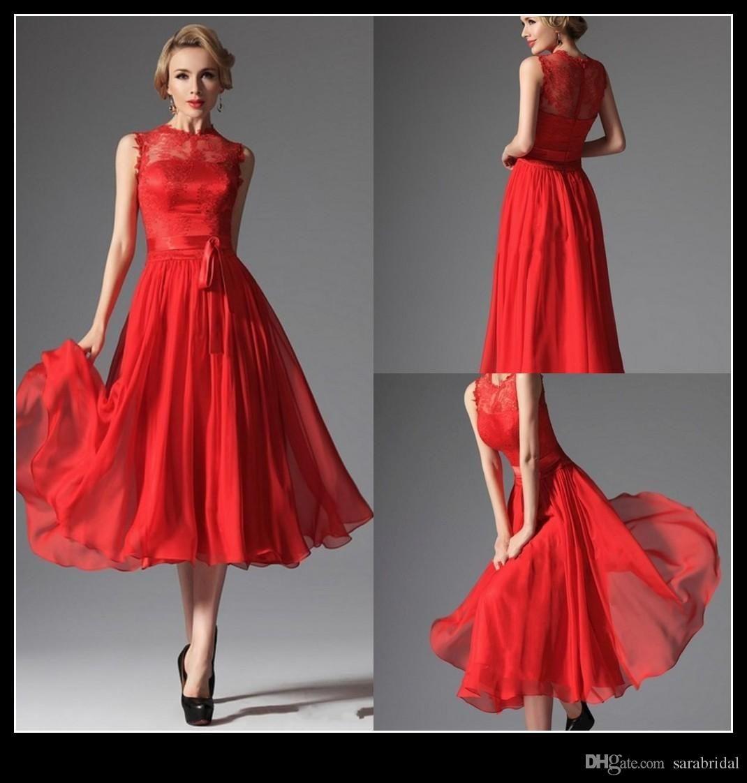 Charming Tea Length Bridesmaid Dress 2016 Lace Chiffon A Line Red Wedding Party Junior Maid