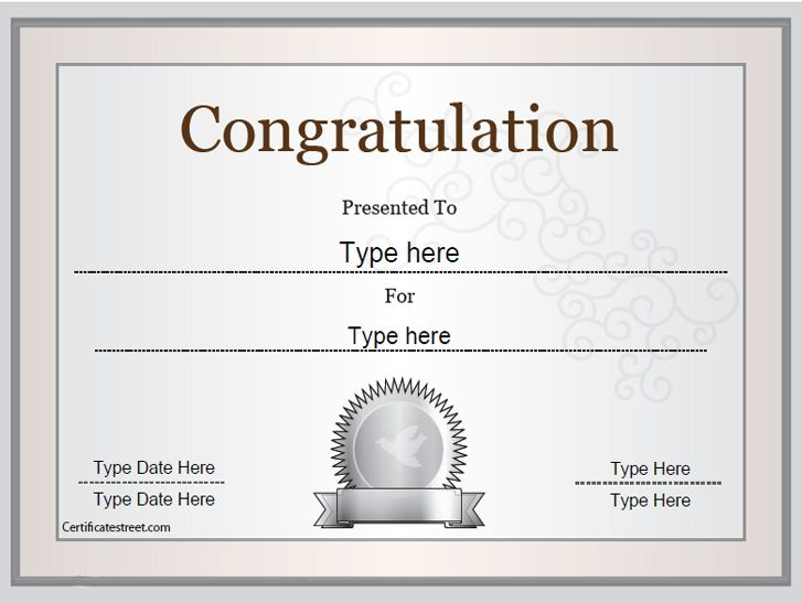 Special Certificate  Congratulations Certificate