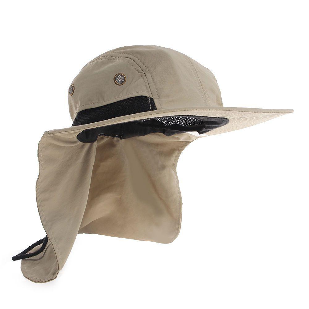 Boonie Fishing Boating Hiking Snap Hat Brim Ear Neck Cover Sun Flap Cap  Khaki 807ce7db39a