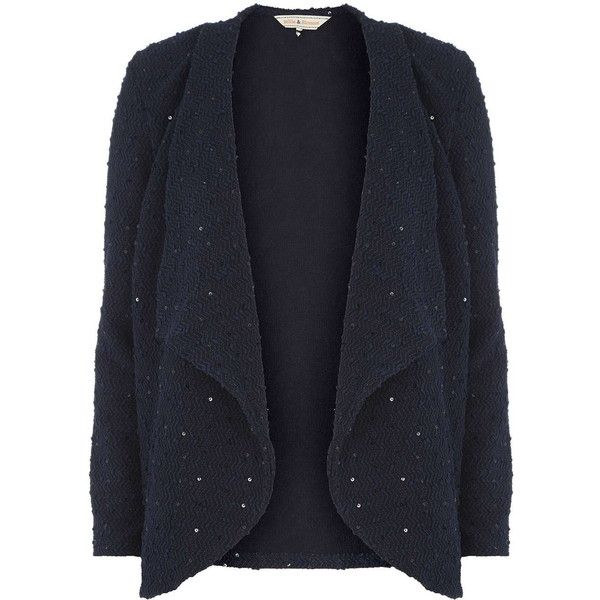 Billie & Blossom Navy Waterfall Sequin Cardigan ($28) ❤ liked on ...