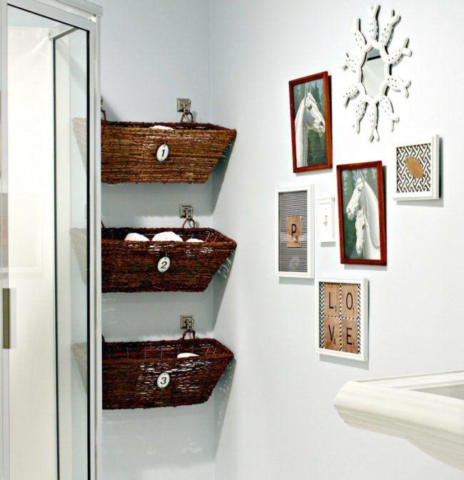 idee deko wand bad stauraum korb bilder spiegel Möbel - körbe für badezimmer