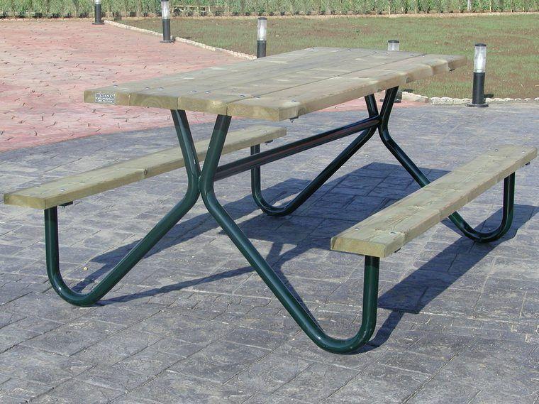 Mesa de picnic de madera y de hierro mod cordoba 2 - Muebles jardin cordoba ...