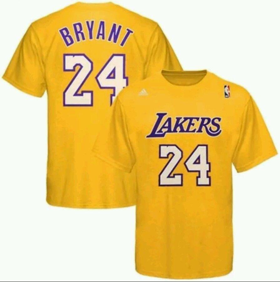 Kobe Bryant 24 Lakers Adidas Gold Net Number Shirt Nba Yellow White Sz 2xl Nwt Lakers T Shirt Kobe Bryant Los Angeles Lakers