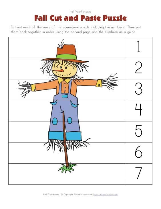 Fall themed cut and paste puzzle worksheet – Kindergarten Puzzle Worksheets