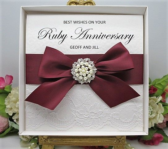 Ruby40 Boxed Ruby Wedding Anniversary Lace Satin 40 Years Available From Www Vintagelaceweddingcards Co