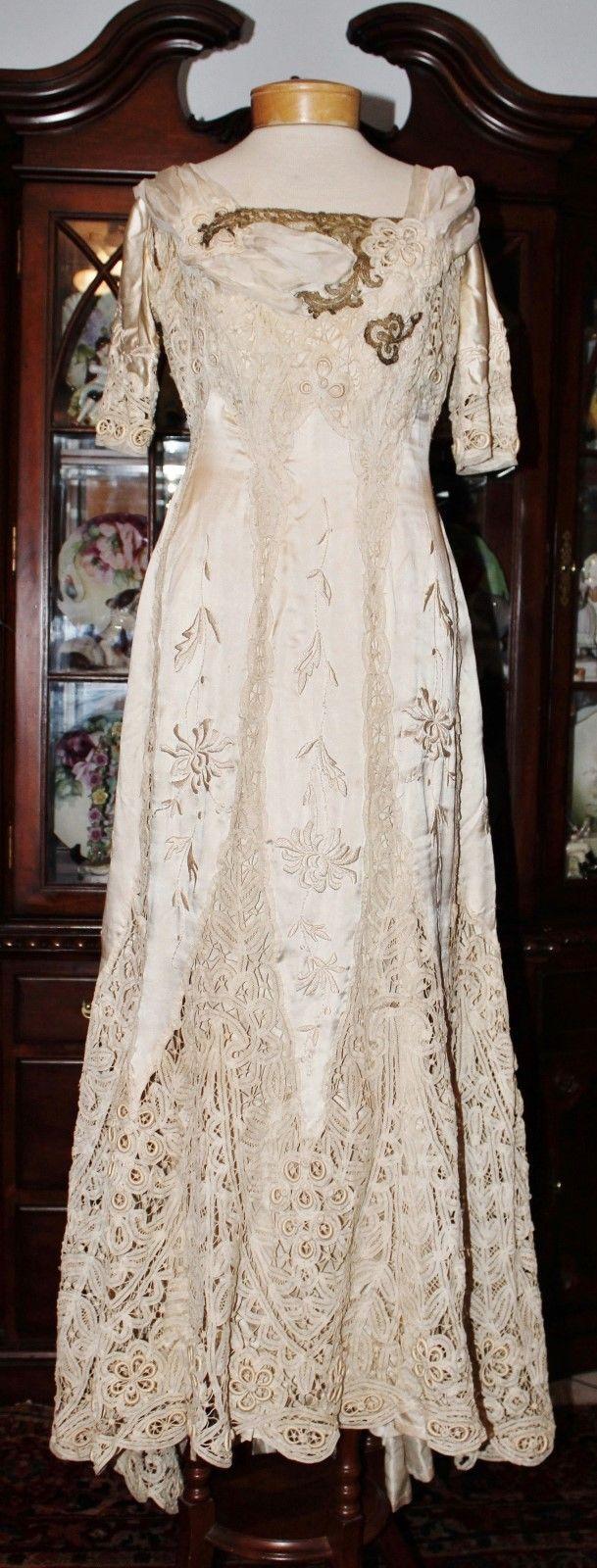Antique edwardian battenburg bobbin lace venice lace trained silk