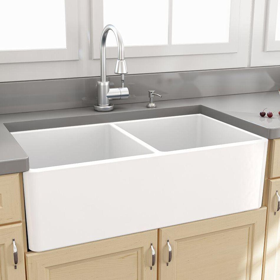 Nantucket Sinks T Fcfs33 Dbl 33 In Double Bowl Modern Fireclay