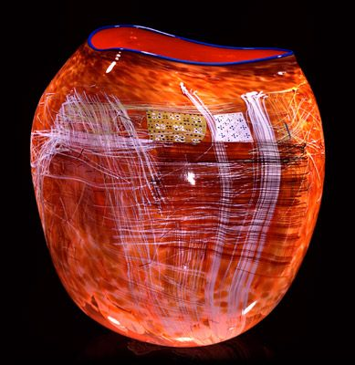 """Dale Chihuly - Cadmium Red Soft Cylinder With Paris Blue Lip Wrap, 1993 22 x 19 x 18"""""""