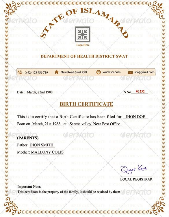Birth Certificate Template \u2013 31+ Free Word, PDF, PSD Format Download