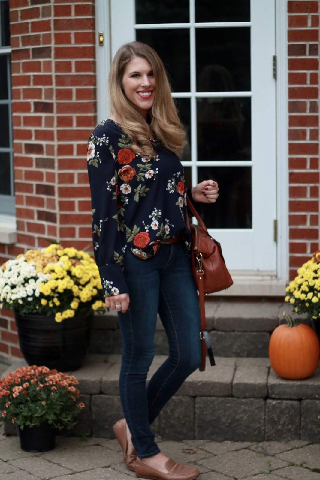 14bafd1a04a0 Navy Floral Blouse & Confident Twosday Linkup Over 40 Outfits, Casual Fall  Outfits, Spring