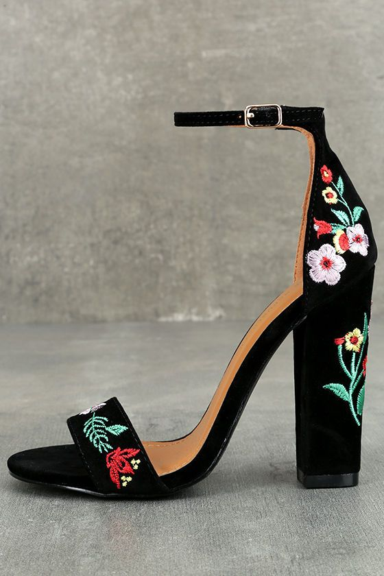 6ee411dce81 Be unstoppable in the Suri Black Embroidered Ankle Strap Heels! These  stunning heels have a vegan suede peep-toe upper