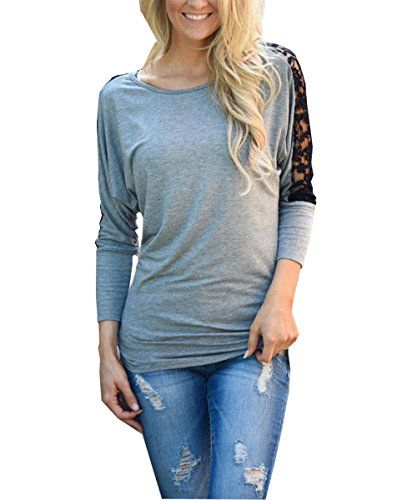 Mrcl Womens Dolman Sleeve Lace Stitching Drape Tops Shirring