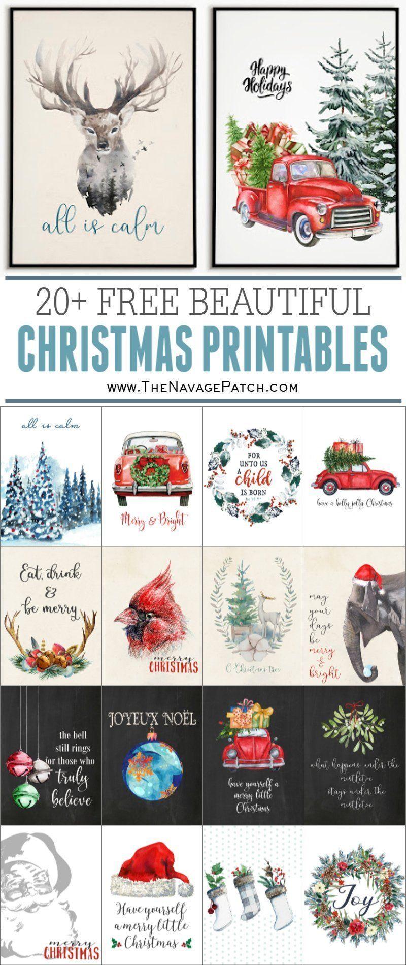 Beautiful FREE Watercolor Christmas Printables